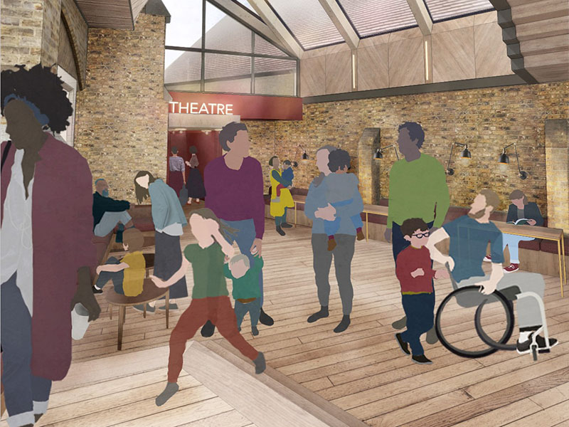 An indicative design of Jacksons Lane's café and foyer space crop for web